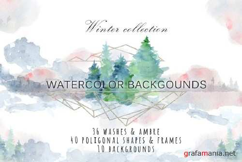 Winter watercolor backgrounds 2088256