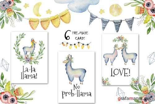 Watercolor llamas - 2106704