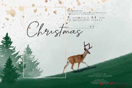 Christmas Watercolor Tree cards collection 05 - 357270