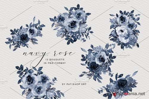Navy Blue Watercolor Rose Clipart - 4136862