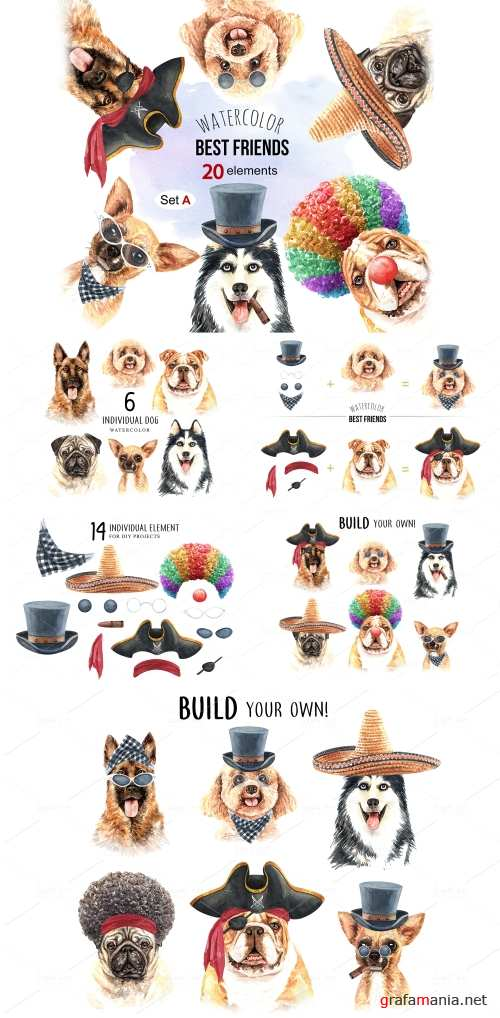 Dog watercolor. Pet clipart Set A - 356359