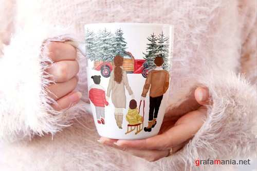 Winter Family Christmas Clipart - 4146132