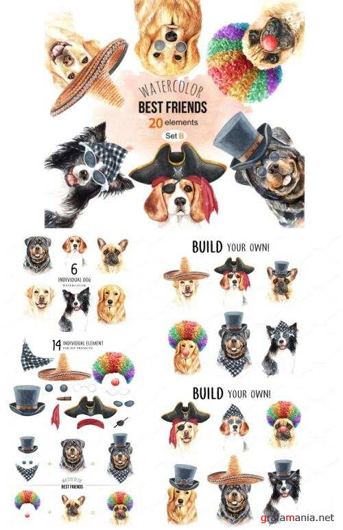 Dog watercolor. Pet clipart Set B