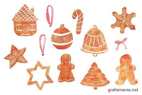 Watercolour Christmas, Gingerbread, PNG - 358868
