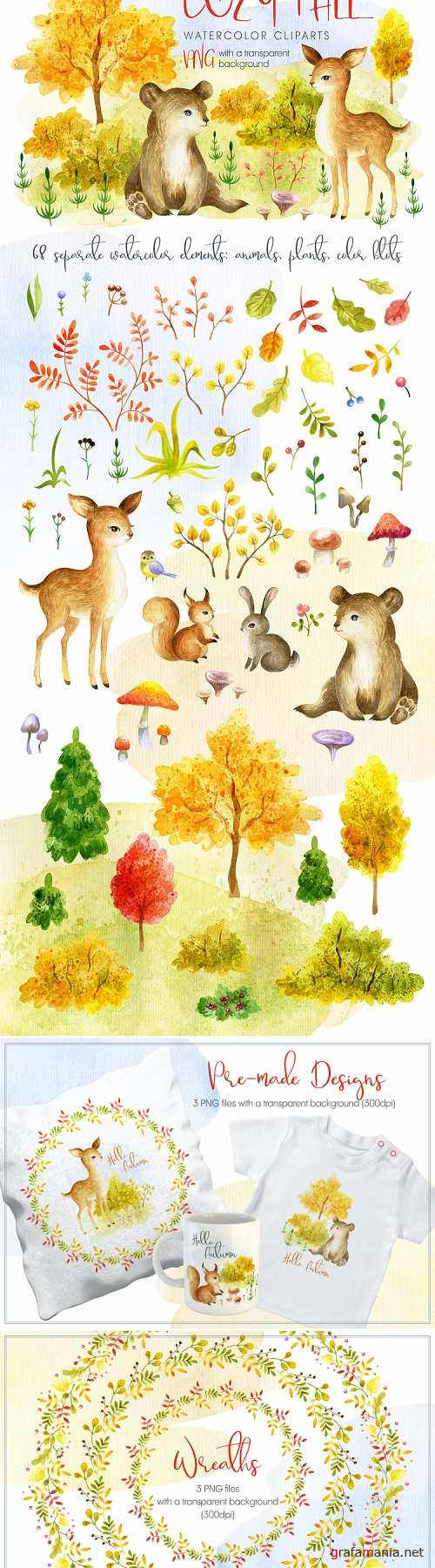 Cozy Fall. Watercolor Animals and Plants - 330849
