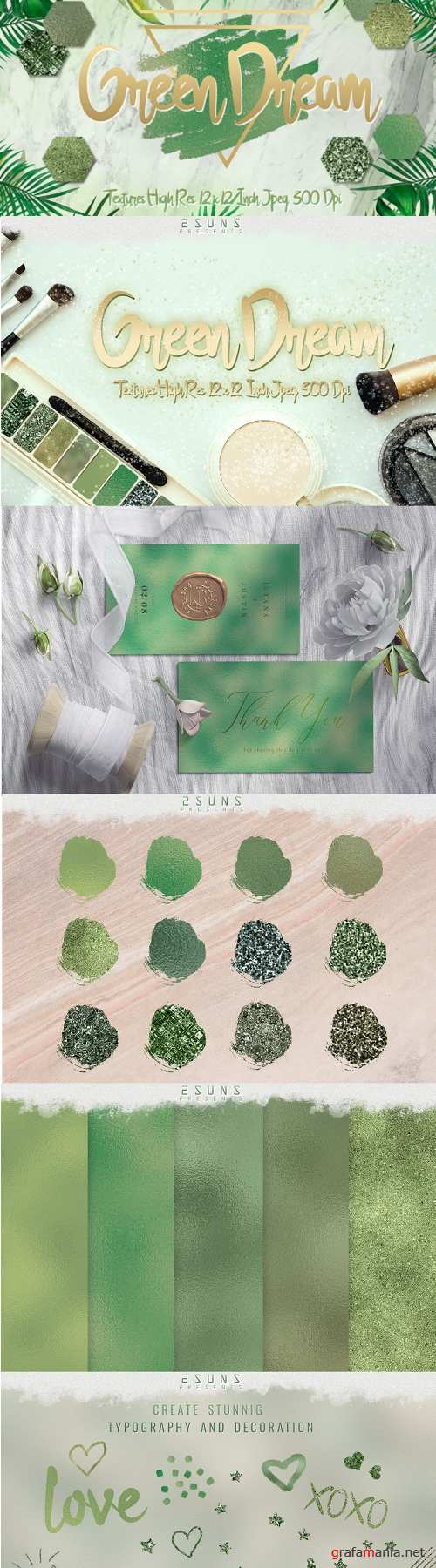Green Dream digital papers textures, background, invitation - 345606