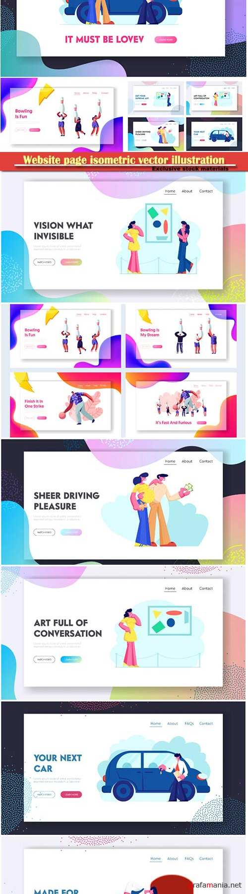 Website page isometric vector illustration, flat banner # 4