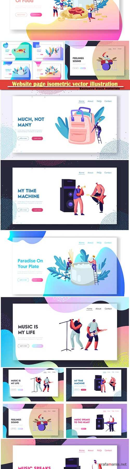 Website page isometric vector illustration, flat banner # 2