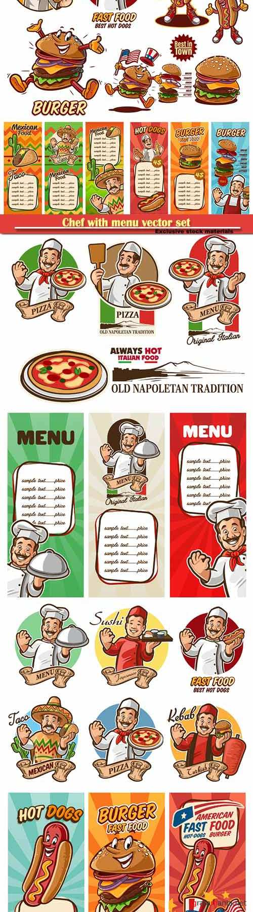 Chef with menu vector set, chef italian, mexican, arab, american, japanese, fast food set