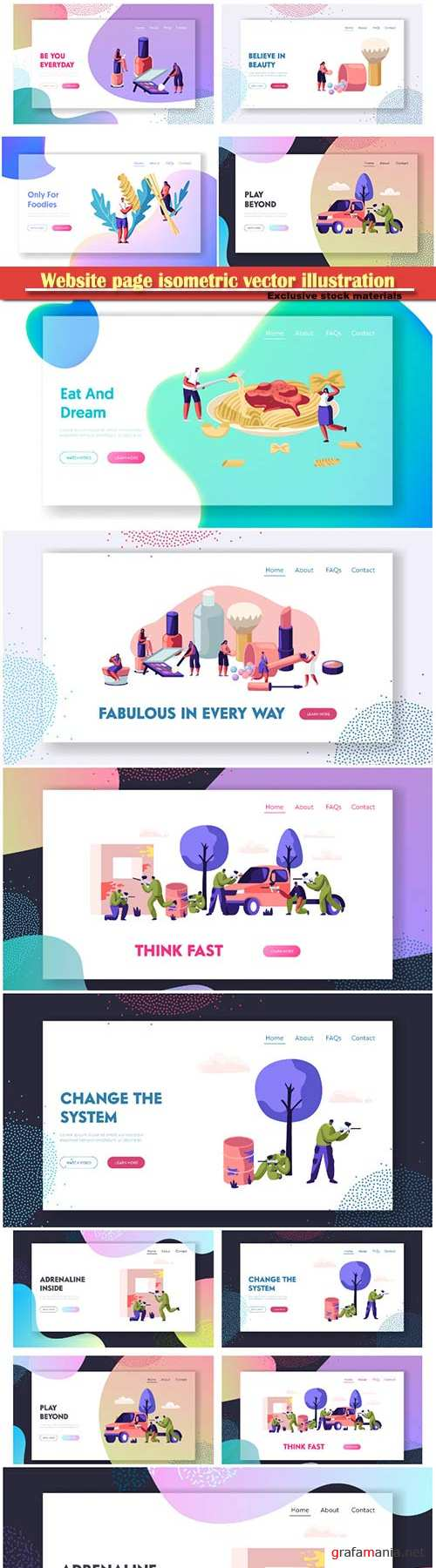 Website page isometric vector illustration, flat banner