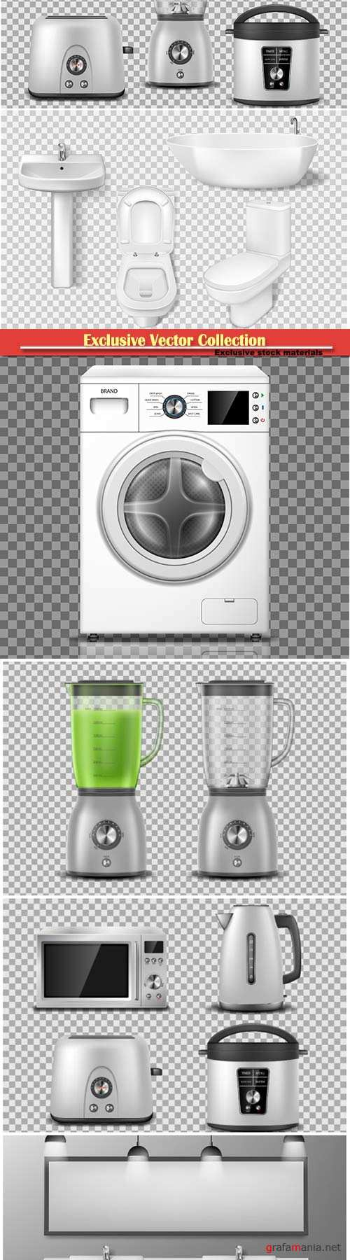 Set of household appliance, kitchen, bathroom appliances,  vector illustration