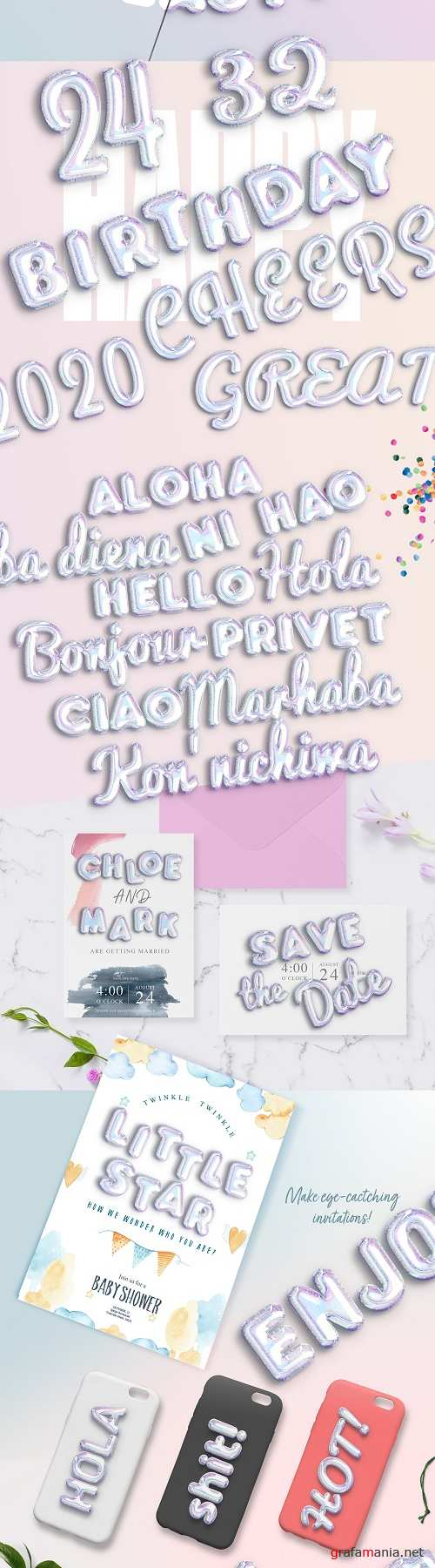 Holographic Balloon Text Effect - 4095898