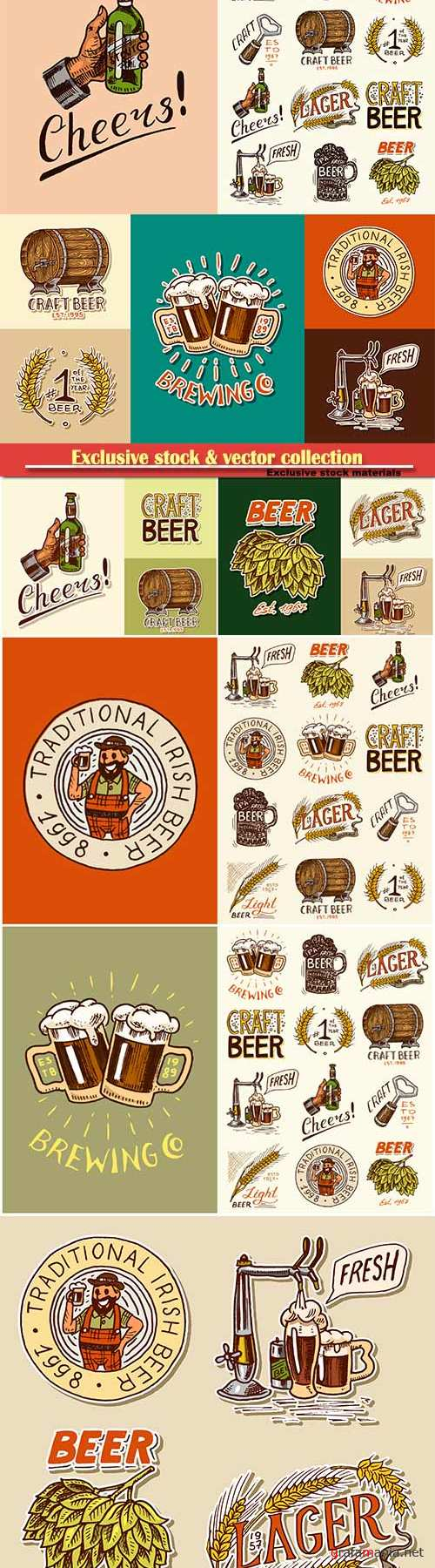 Beer vector stickers and labels