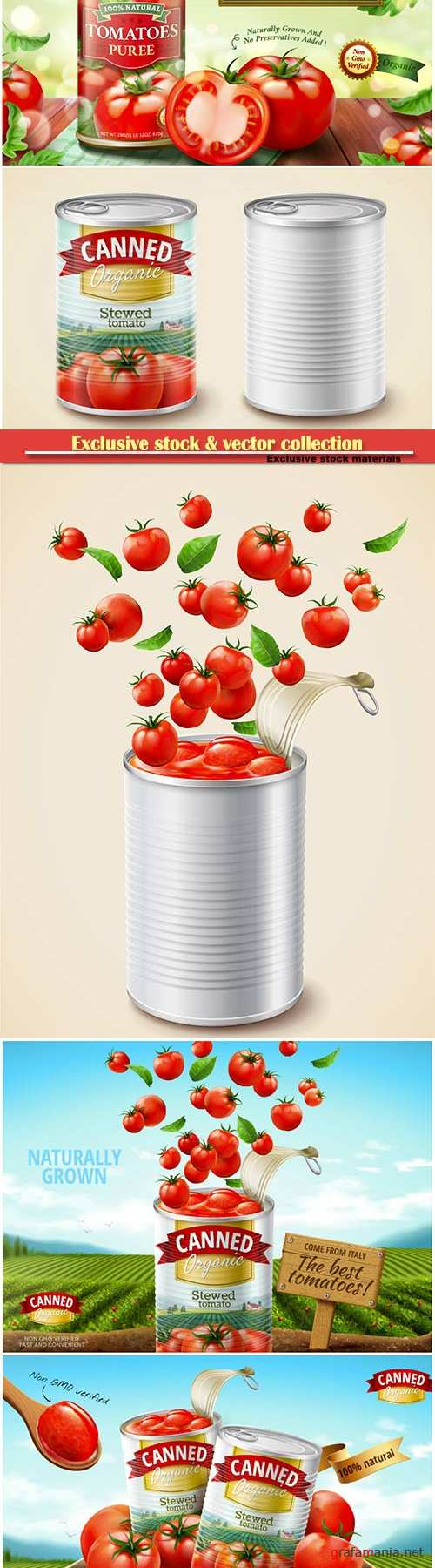 Canned tomato puree ads with fresh vegetables in 3d illustration