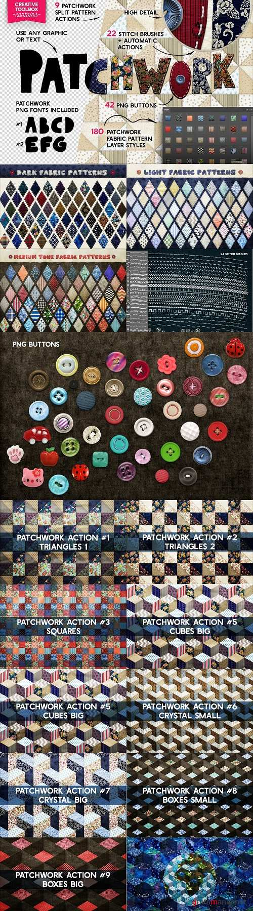Patchwork Effect Photoshop Toolkit - 2489840