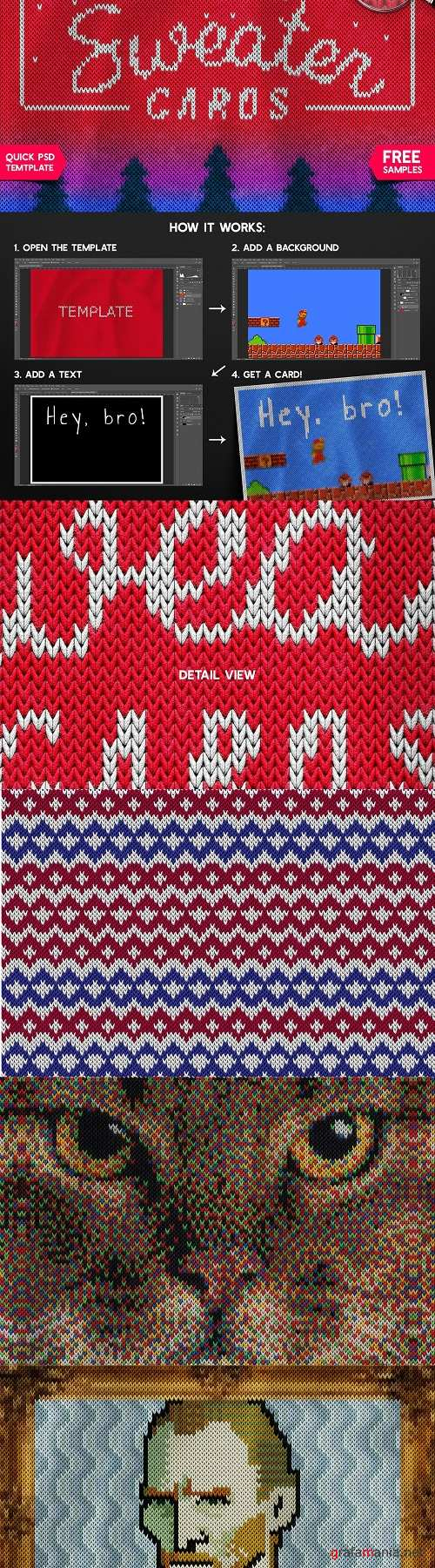 Christmas Sweater Photoshop Template - 3143312