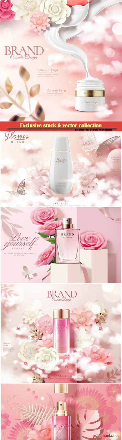 Skincare bottle ads with white and pink paper flowers in 3d illustration