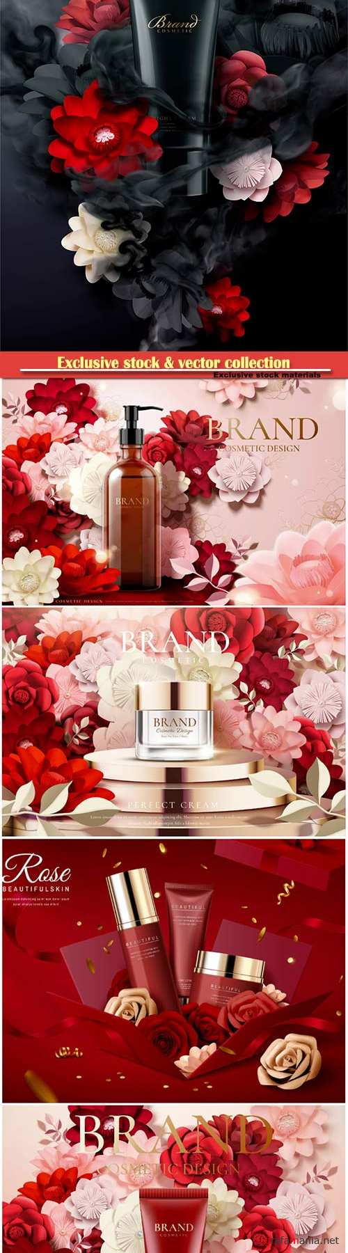 Cosmetic set ads with paper flowers in 3d illustration