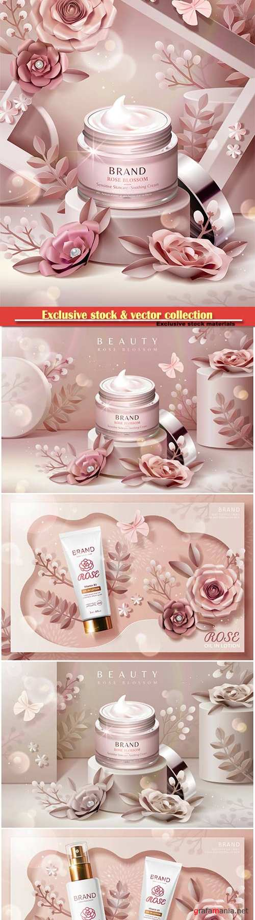 Cream jar ads on podium with paper flowers and frame background in 3d illustration