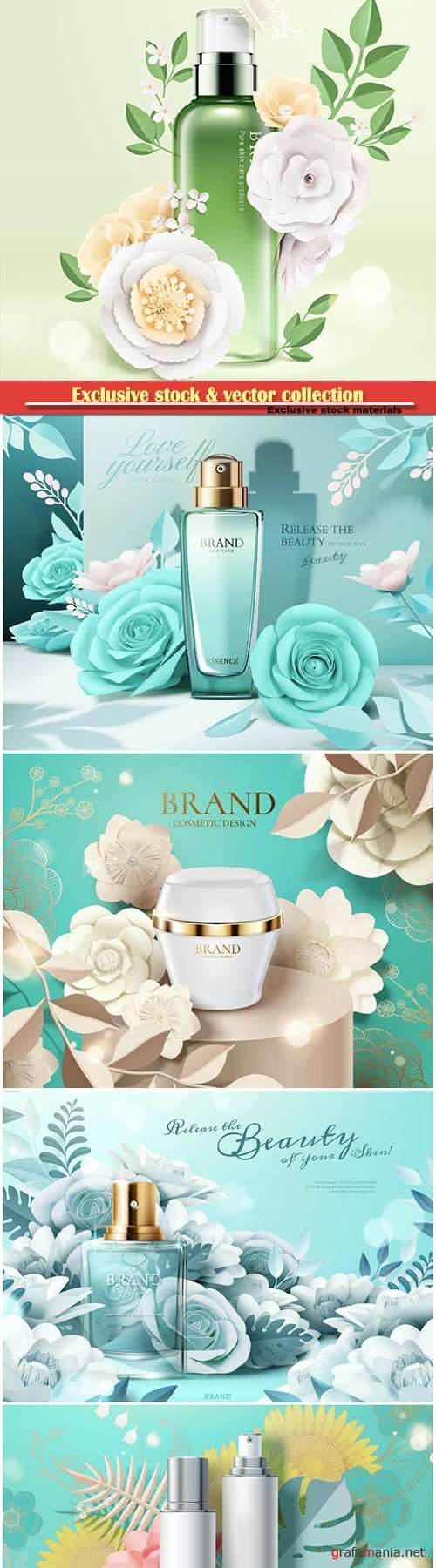 Cosmetic set ads with paper flowers in 3d illustration # 3