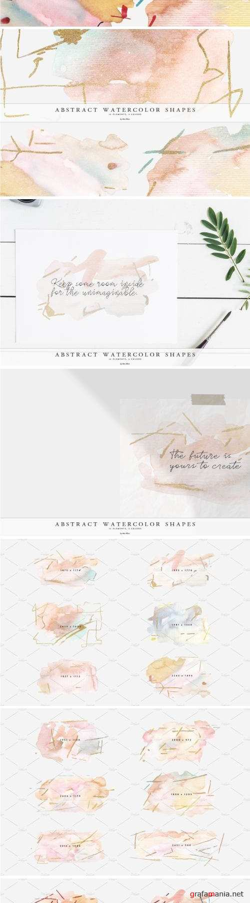 Abstract Watercolor Gold Shapes - 4060043