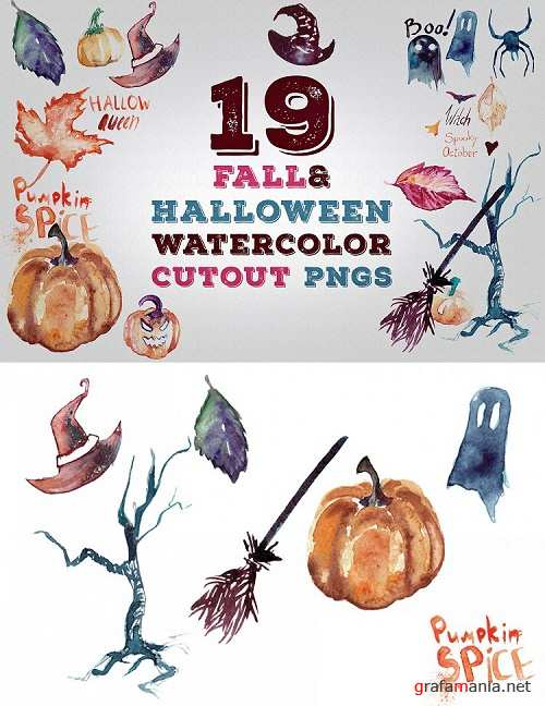 19 Fall and Halloween Watercolor Transparent Graphics Pngs - 359471