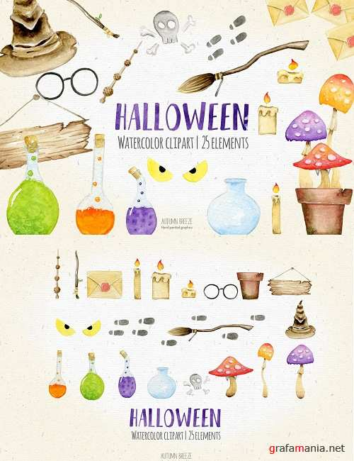Halloween watercolor clipart - 2906290