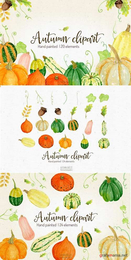 Watercolor Pumpkin Clipart - 2950497