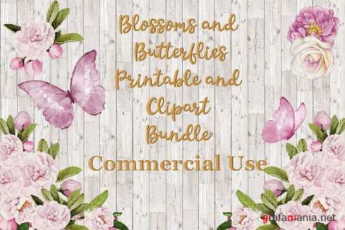 Blossoms and Butterflies Floral Clipart and Printables - 360149