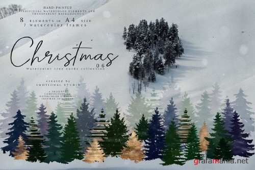 Christmas Watercolor Tree cards collection 06 high res png - 361134