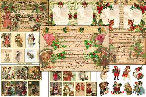 Country Christmas Backgrounds with FREE Ephemera and Clipart - 355412