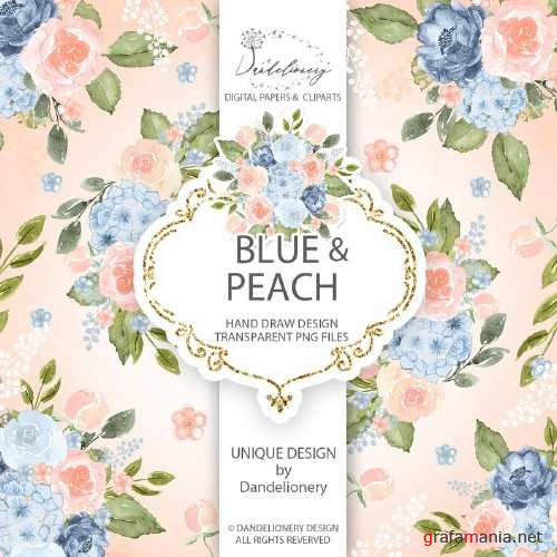 Watercolor Blue Peach design and digital paper pack
