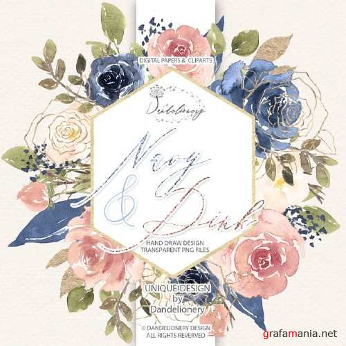 Watercolor Navy and Pink design and digital paper pack