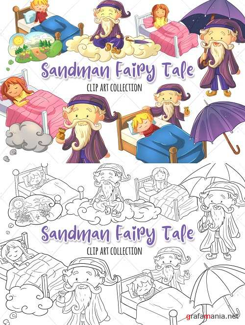 Sandman Fairy Tale Clip Art Collection and Digital Stamps - 362794 - 362795