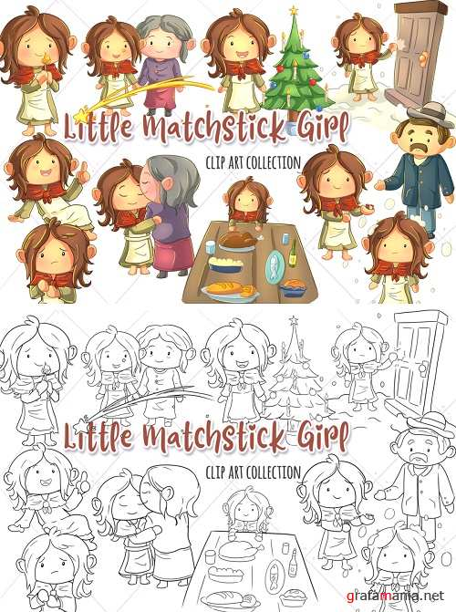 Little Matchstick Girl Fairy Tale Clip Art Collection and Digital Stamps - 362796 - 362797