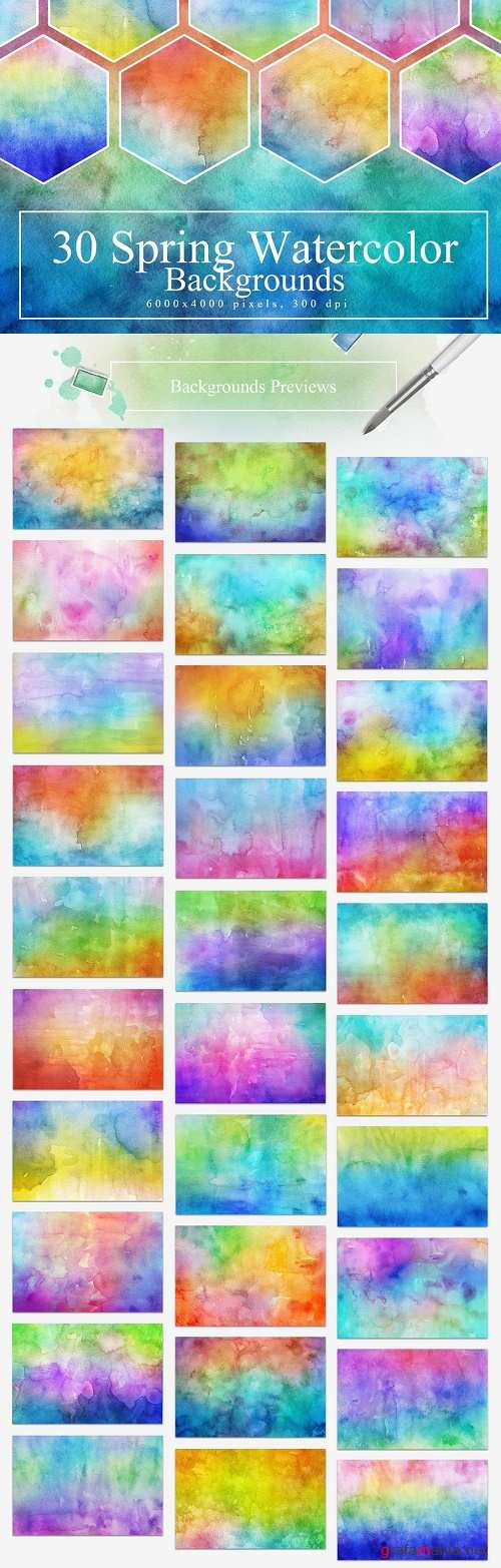 30 Spring Watercolor Backgrounds - 2306812
