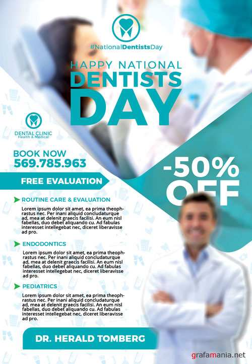 Happy dentists day - Premium flyer psd template