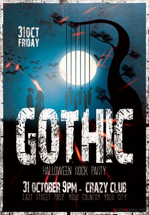 Gothic halloween rock party - Premium flyer psd template