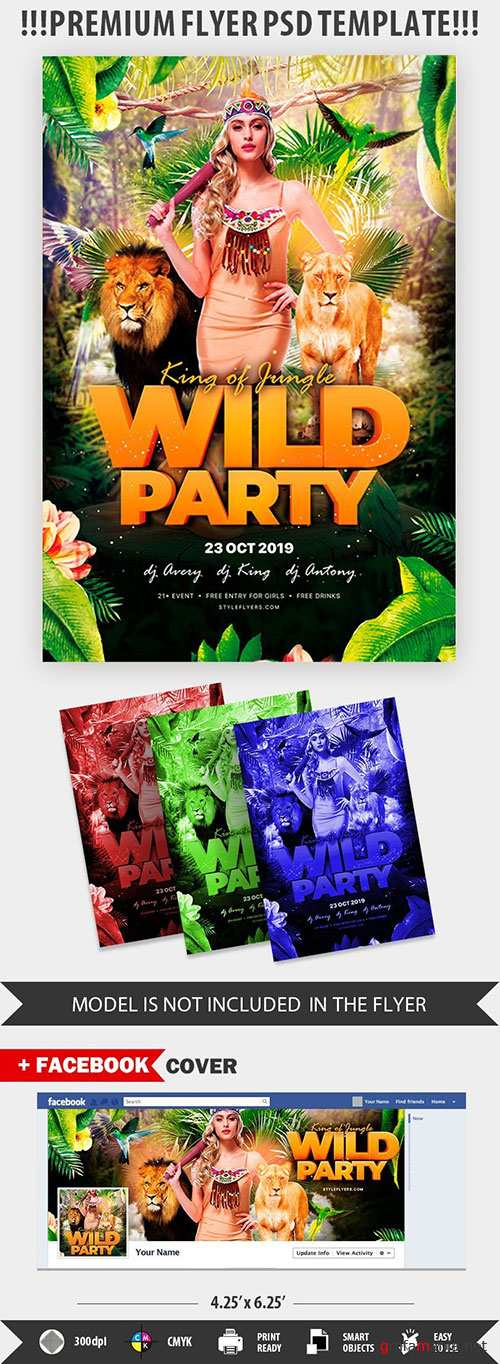 King of jungle wild party psd flyer