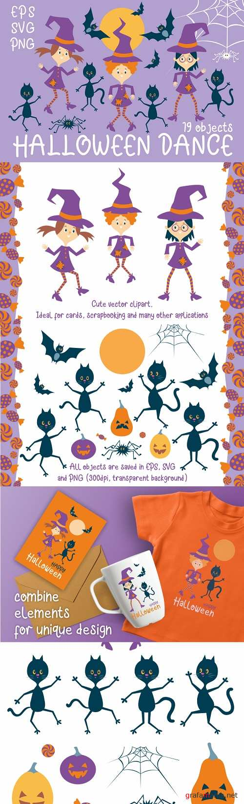 Halloween dance. Funny witches and black cats 363909