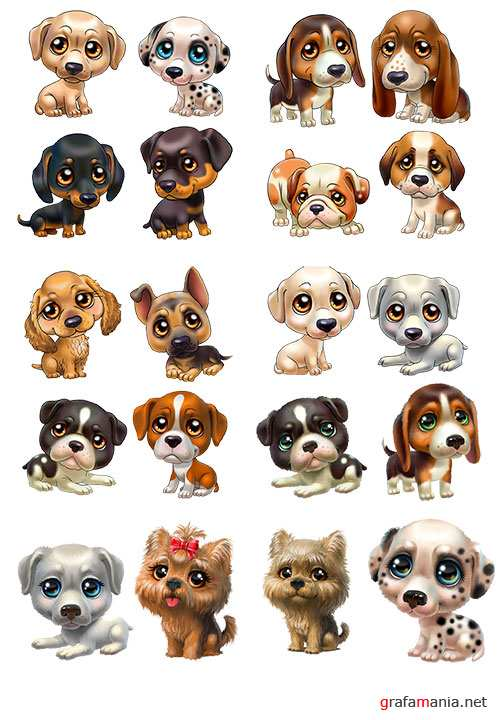Funny dogs in 3D psd template