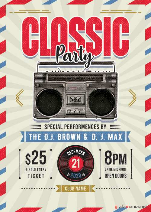 Retro Style Flyer Template PSD
