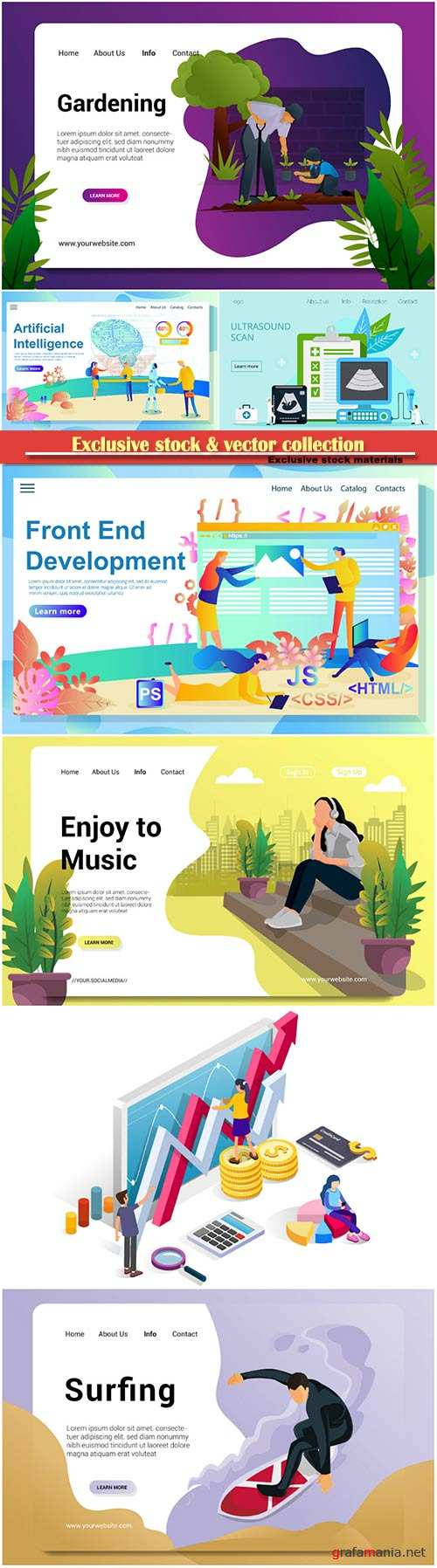 Website page isometric vector illustration, flat banner # 16