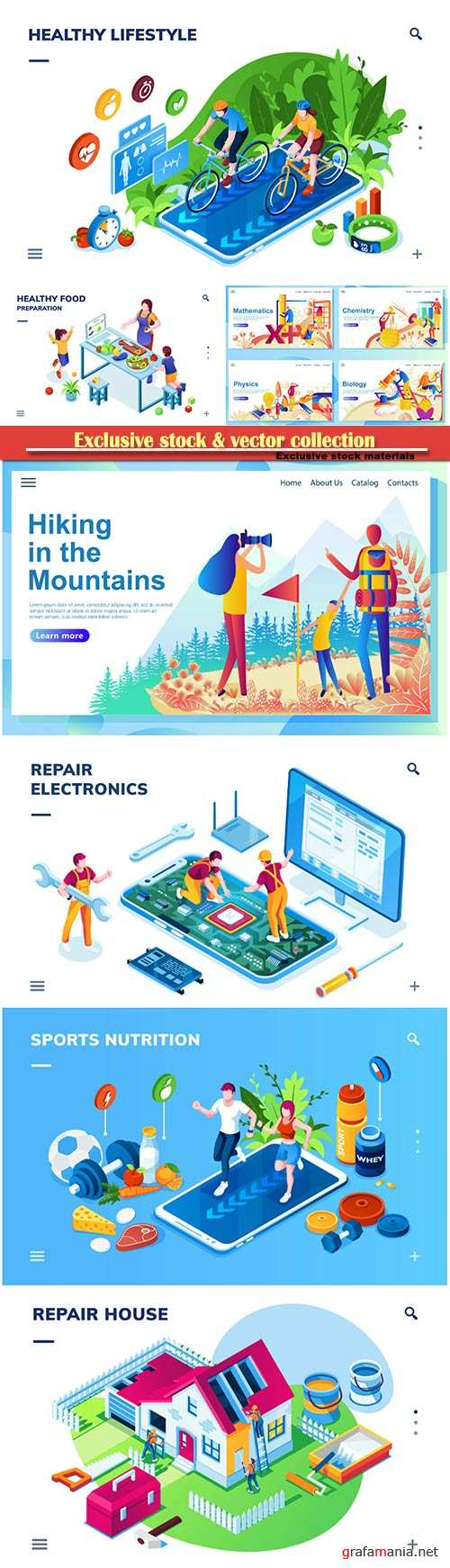 Website page isometric vector illustration, flat banner # 15