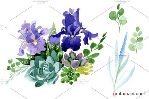 Bouquet flowers with purple irises - 4010587