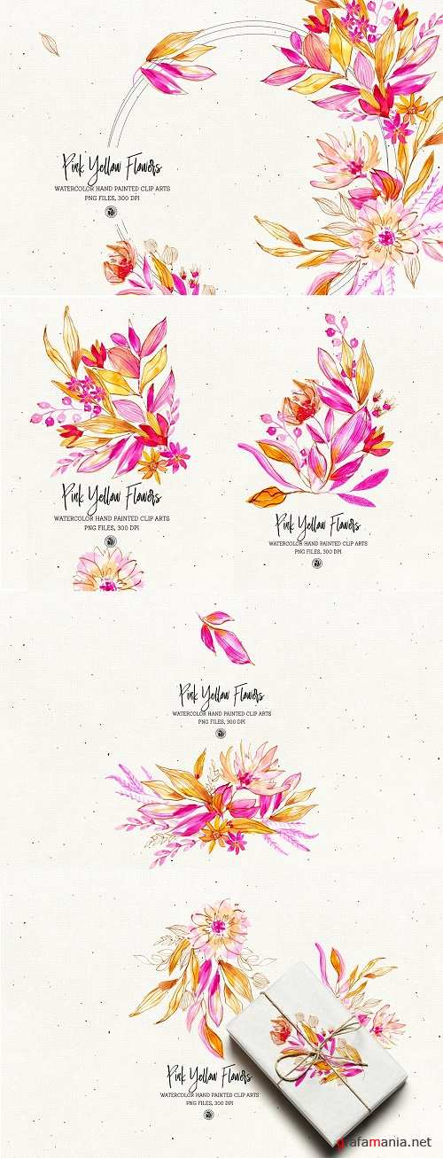 Pink Yellow Flowers - 4210686