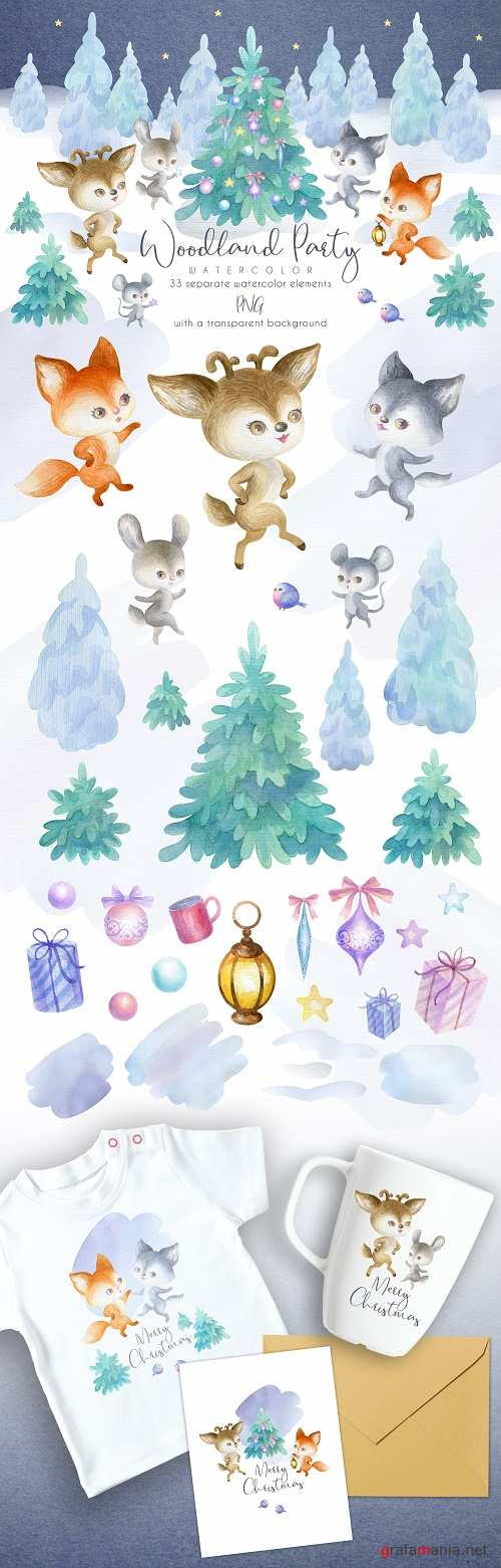 Woodland party. Watercolor Christmas set - 368198