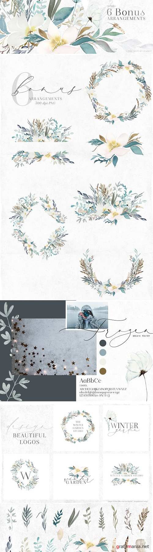 Winter Garden - Watercolor Clipart - 3374539