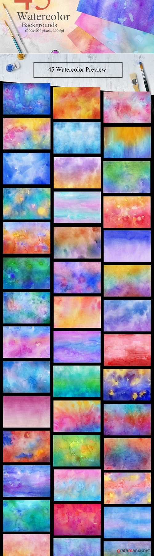 45 Watercolor Backgrounds - 2269084