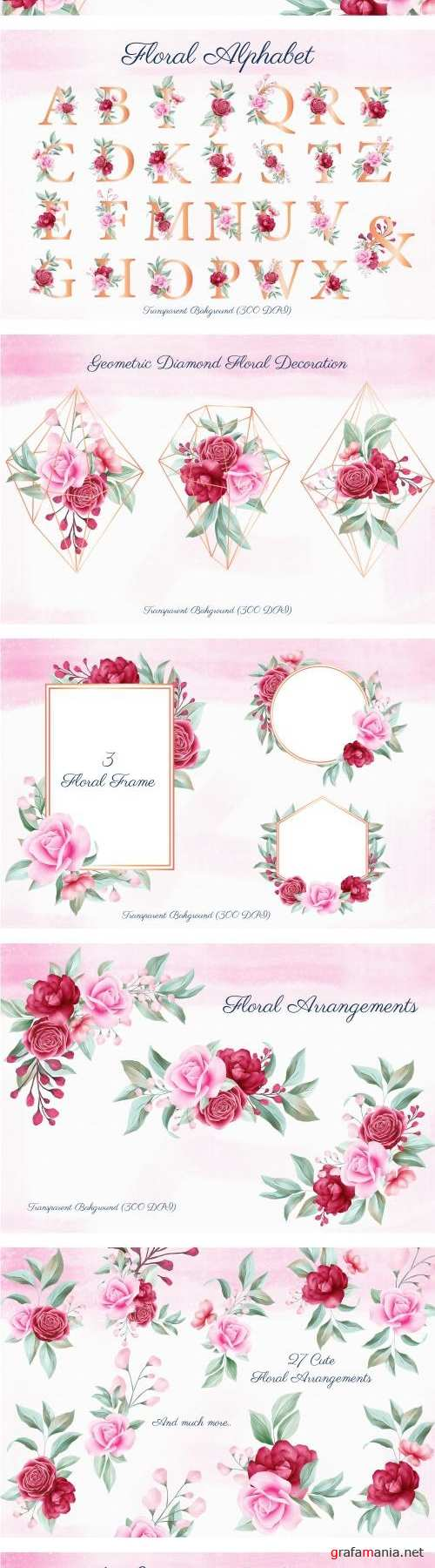 Romantic Watercolor Flowers Collection - 363012